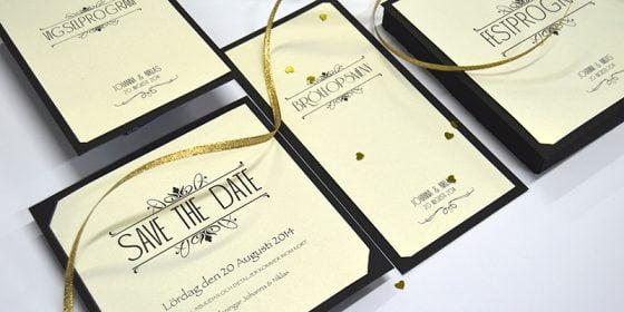 Champagne Guld bröllopskort in