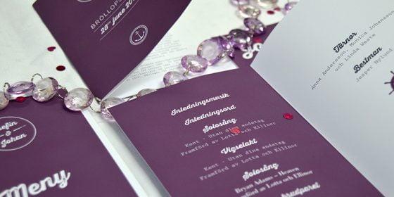 Torekov Bröllopsprogram dukning in