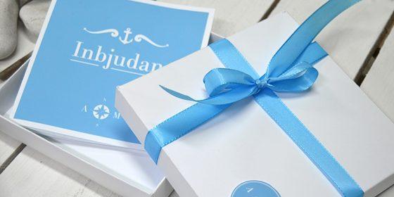 Blått bröllops inbjudningskort