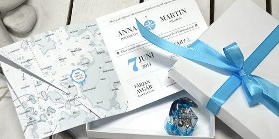 Bröllopsinbjudan vid bröllop i skärgården eller Västkusten