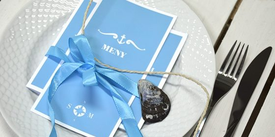 Blå bröllops meny