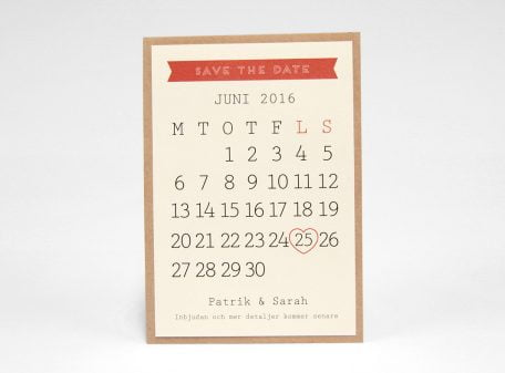 Österlen Vintage save the date kort med kalender