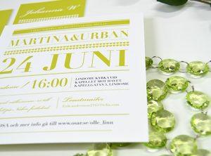 Barcelona bröllop kort limegrön