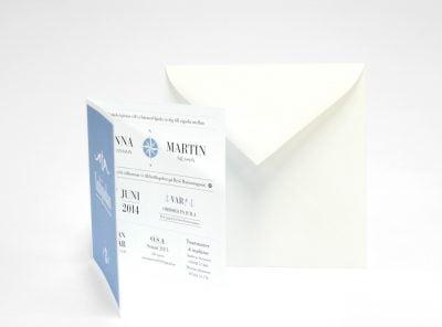 Bohuslän bröllopsinbjudan med vitt kuvert
