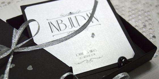 Champagne silver bröllop inbjudan
