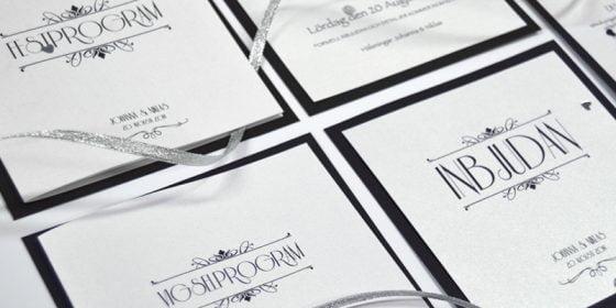 Champagne silver festprogram med inbjudan in