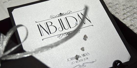 Champagne silver inbjudningskort brollop silver in