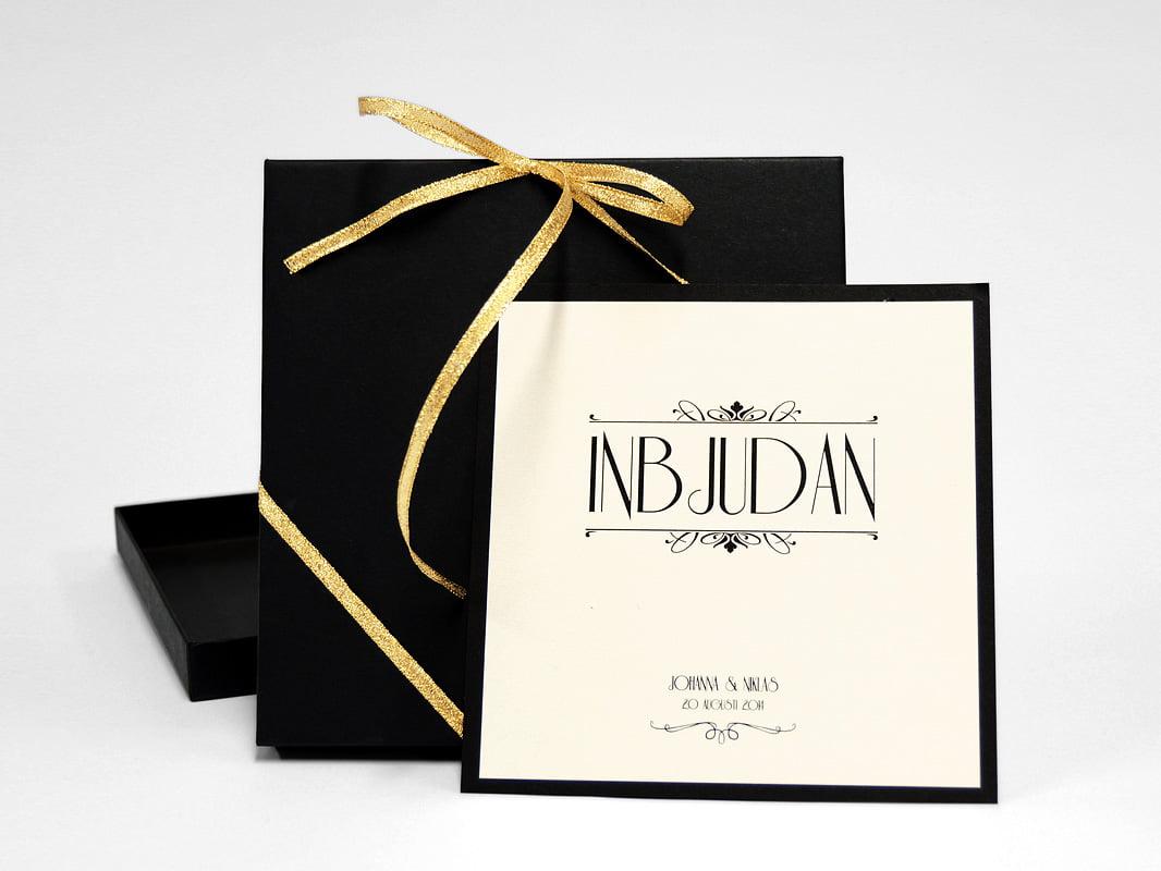 Champange bröllopsinbjudan med svart ask