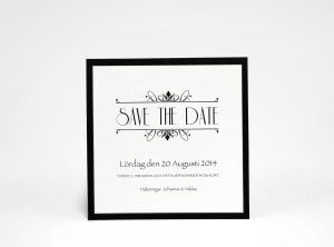Champange silver Save the date silvrigt kort
