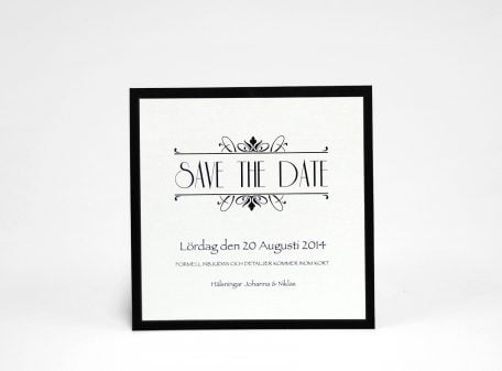 Champange silver Save the date silvrigt kort