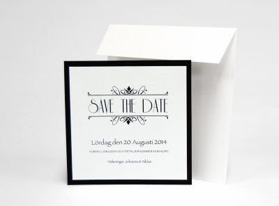 Champange silver save the date med kuvert