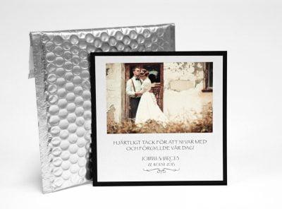 Champange silver tackkort enkelsidigt med bubbelkuvert