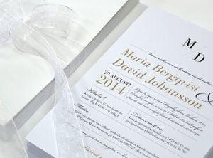Bröllopstryck bröllopsinbjudan med vit elegans