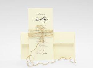 Stockholm Ivory bröllopsinbjudningskort med kuvert och band