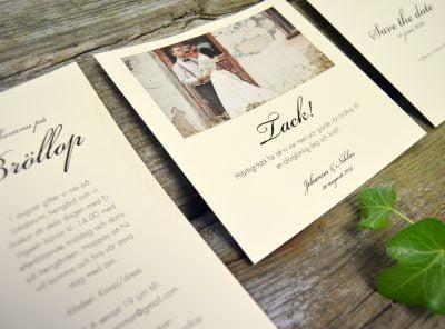 Stockholm Ivory bröllops tackkort inspiration 01