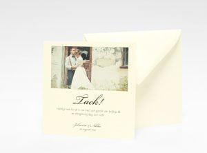 Stockholm Ivory bröllops tackkort med kuvert