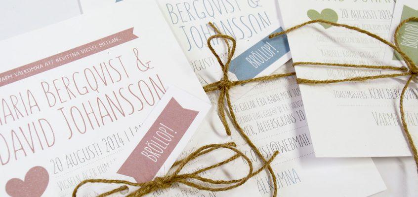 Bröllopsinbjudan rosa grönt eller blått