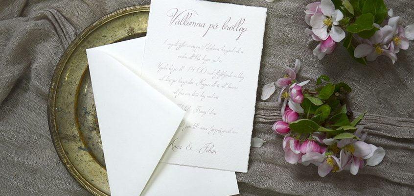 Bröllopskort handgjort papper med kuvert Särö