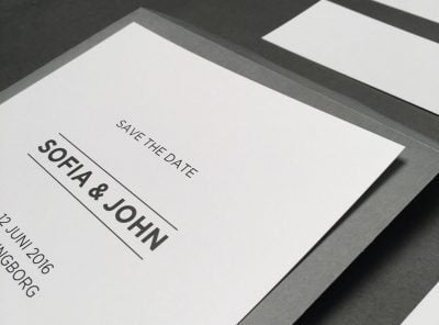 Bröllop i modern stil Vitt och grått i rena linjer.