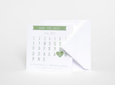 Save the date kort olika färger med kalender Majorna