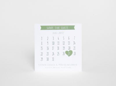 Grönt Save the date kort med kalender Majorna