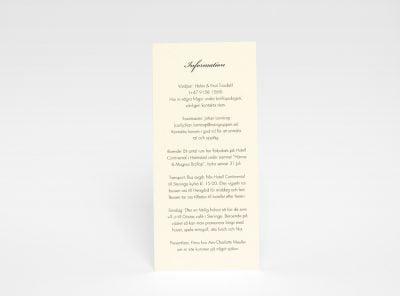 Informations kort till bröllopsinbjudan Stockholm Ivory