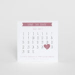 Rosa Save the date kort med kalender Majorna