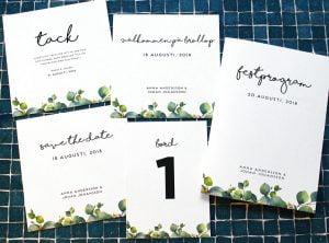 Bröllopskollektion Inbjudan save the date placeringskort