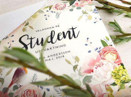 Studentinbjudan och tackkort till studenten