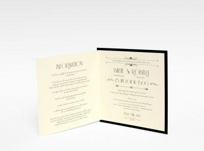 Champagne Guld bröllopsinbjudan exklusiv insidan