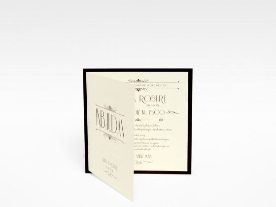 Champagne Guld bröllopsinbjudan exklusiv sid 1&3