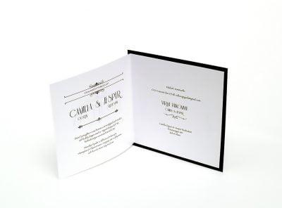 Champagne silver bröllopsinbjudan folder insida