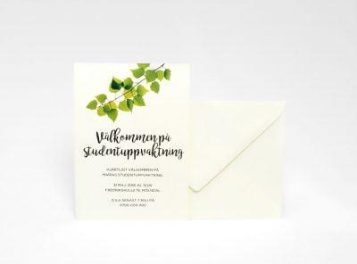 Studentinbjudningkort Björk Ivory med kuvert
