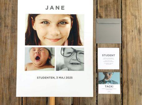 Tryckta inbjudningskort till studenten