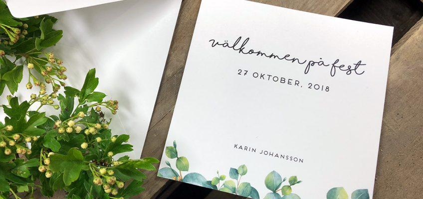 Inbjudningskort med blad