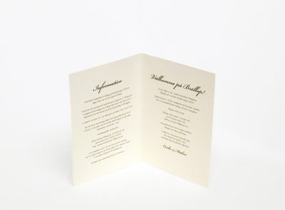 Bröllopsinbjudan 4-sidor Stockholm Ivory insidan