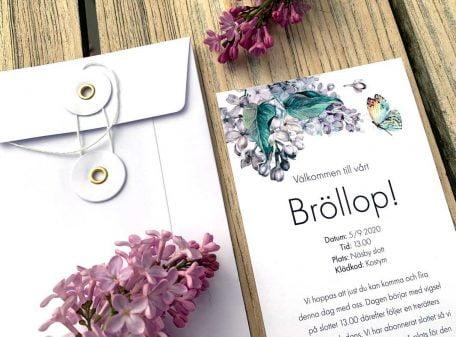Inbjudningskort syren med snodd kuvert image